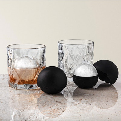 Whiskey Barware Set Of Tumbler Glasses And Ice Ball Molds