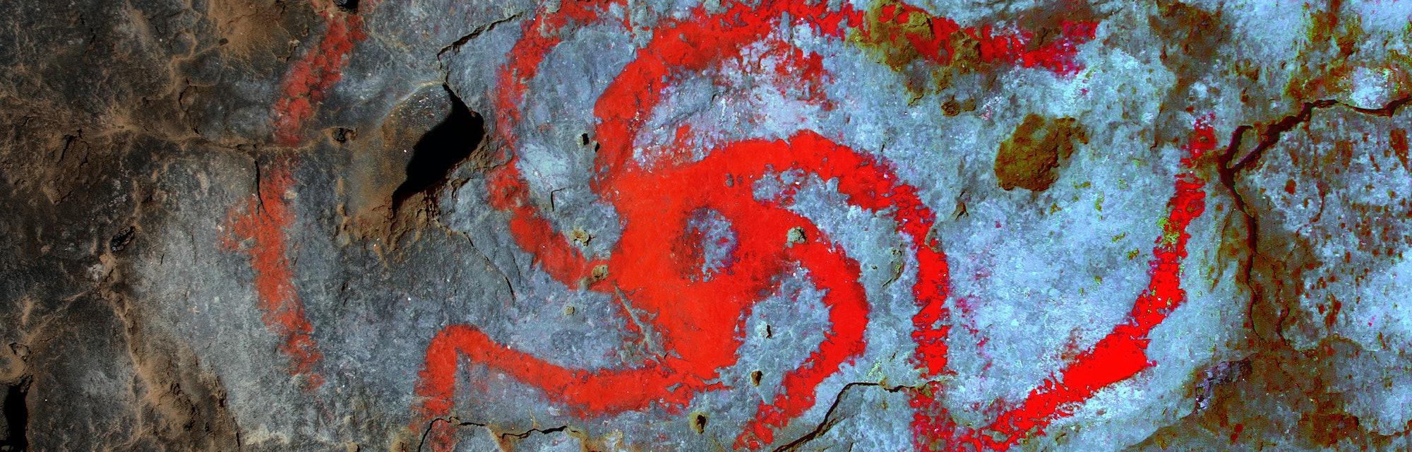 rock art flower drawing