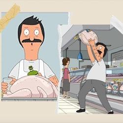 Stills from 'Bob's Burgers' Thanksgiving episodes of Bob holding a turkey