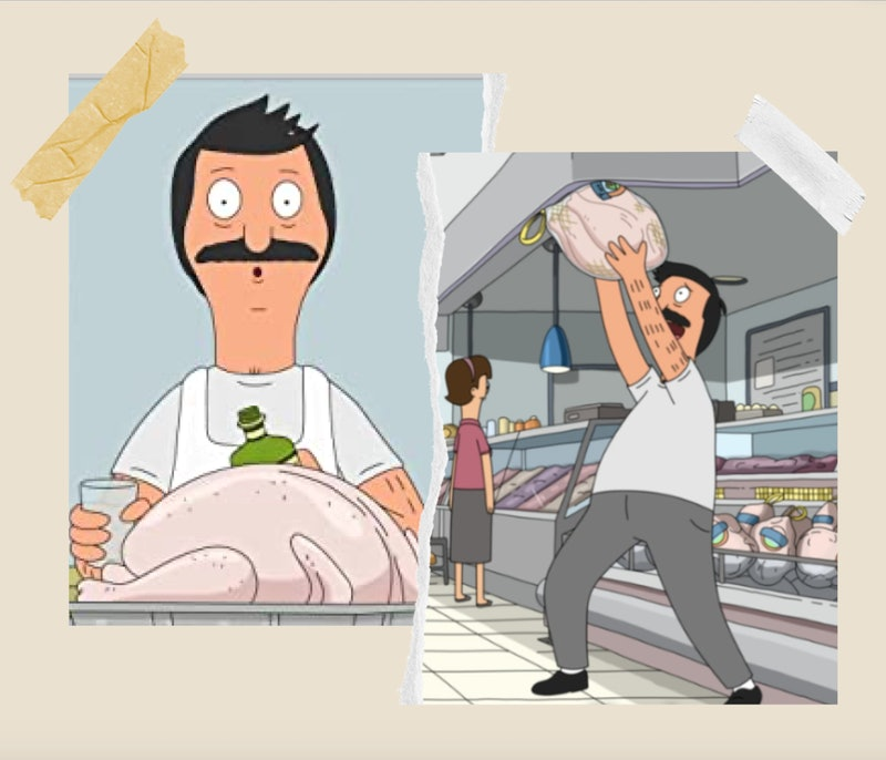 Stills from 'Bob's Burgers' Thanksgiving episodes of Bob holding a turkey