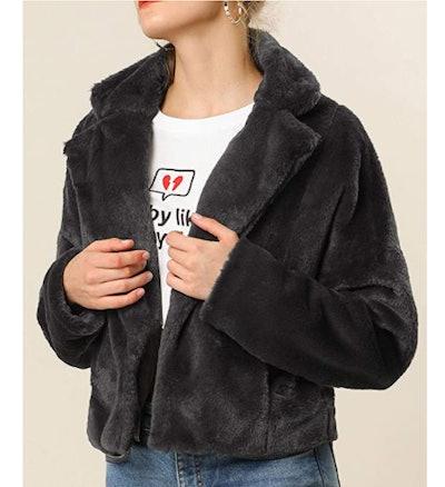 Allegra K Cropped Faux Fur Jacket