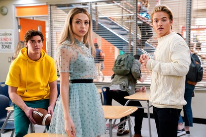 Belmont Cameli as Jamie Spano, Josie Totah as Lexi, and Mitchell Hoog as Mac Morris in the 'Saved by the Bell' reboot via NBC's press site