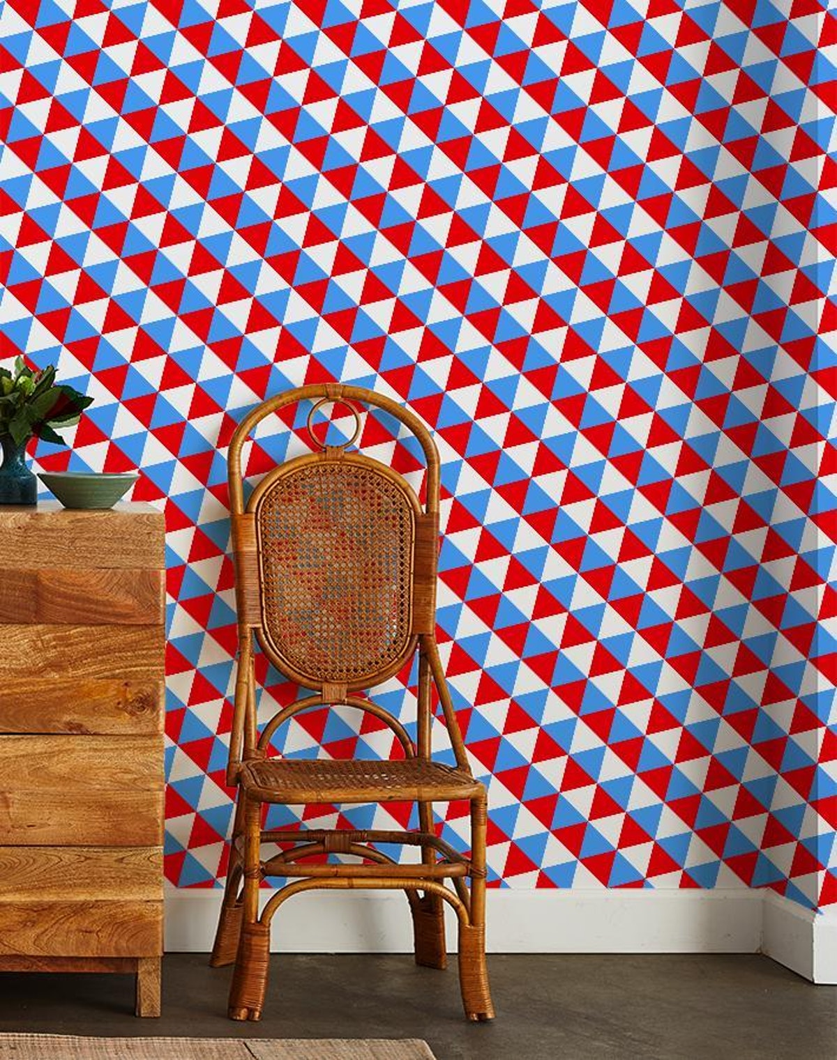 Optic Triangle by Clare V. - Cyan / Red