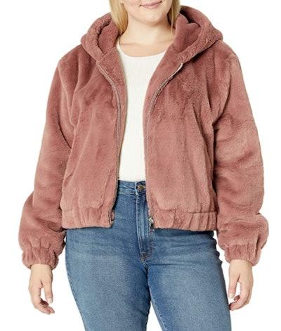 The Drop Sloane Faux Fur Zip-Front Hooded Bomber Jacket