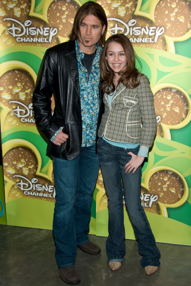 Miley Cyrus and Billy Ray Cyrus at the 2006 Disney Winter Upfront