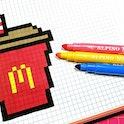 Pixel art of a McDonald's soda.