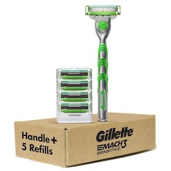 Gillette Mach3 Sensitive Men's Razor Handle + 5 Refills