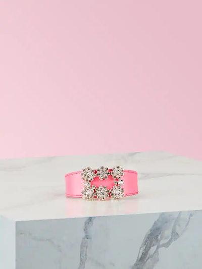 Flower Strass Buckle Bracelet in Leather