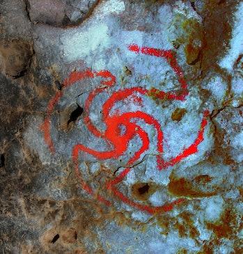 rock art pinwheel flower