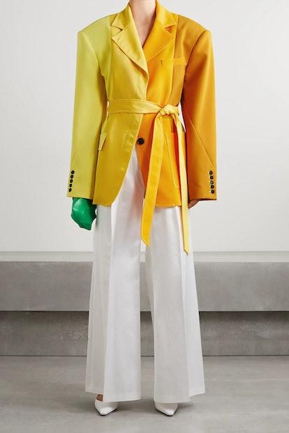 Oversized Belted Color-Block Crepe Blazer