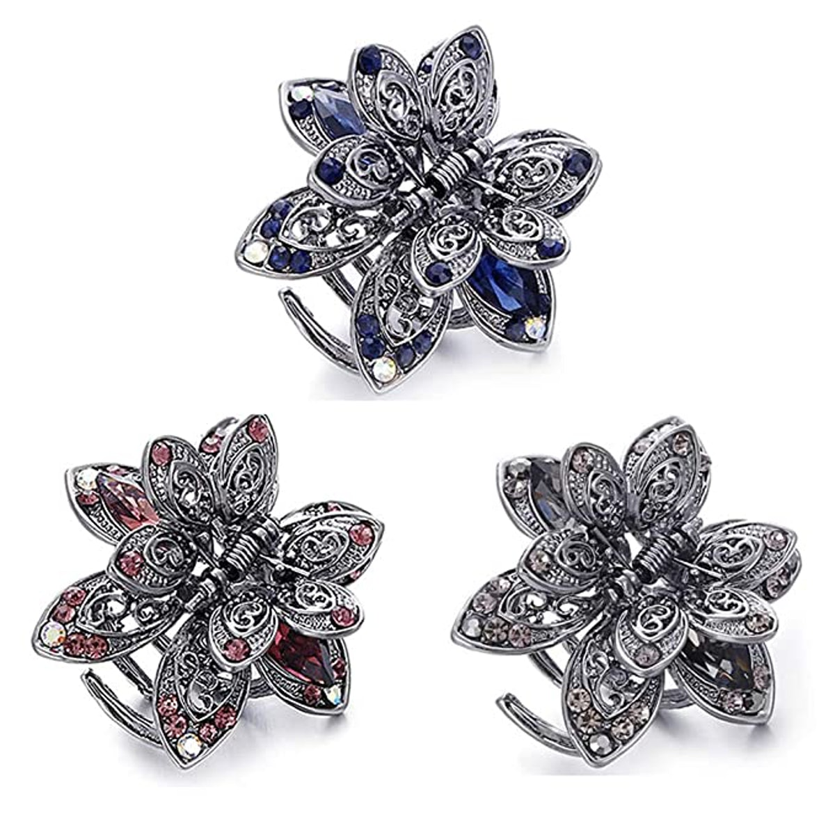 Wsere Mini Vintage Hair Jaw Clips (3-Pack)