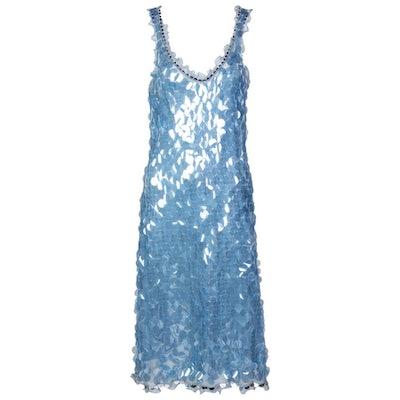 Vintage Blue Silk Paillette Plunge Back Dress