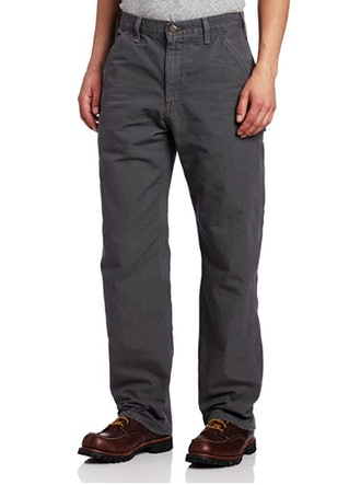 Carhartt Men's Washed Duck Dungaree Flannel-Lined Work Pants