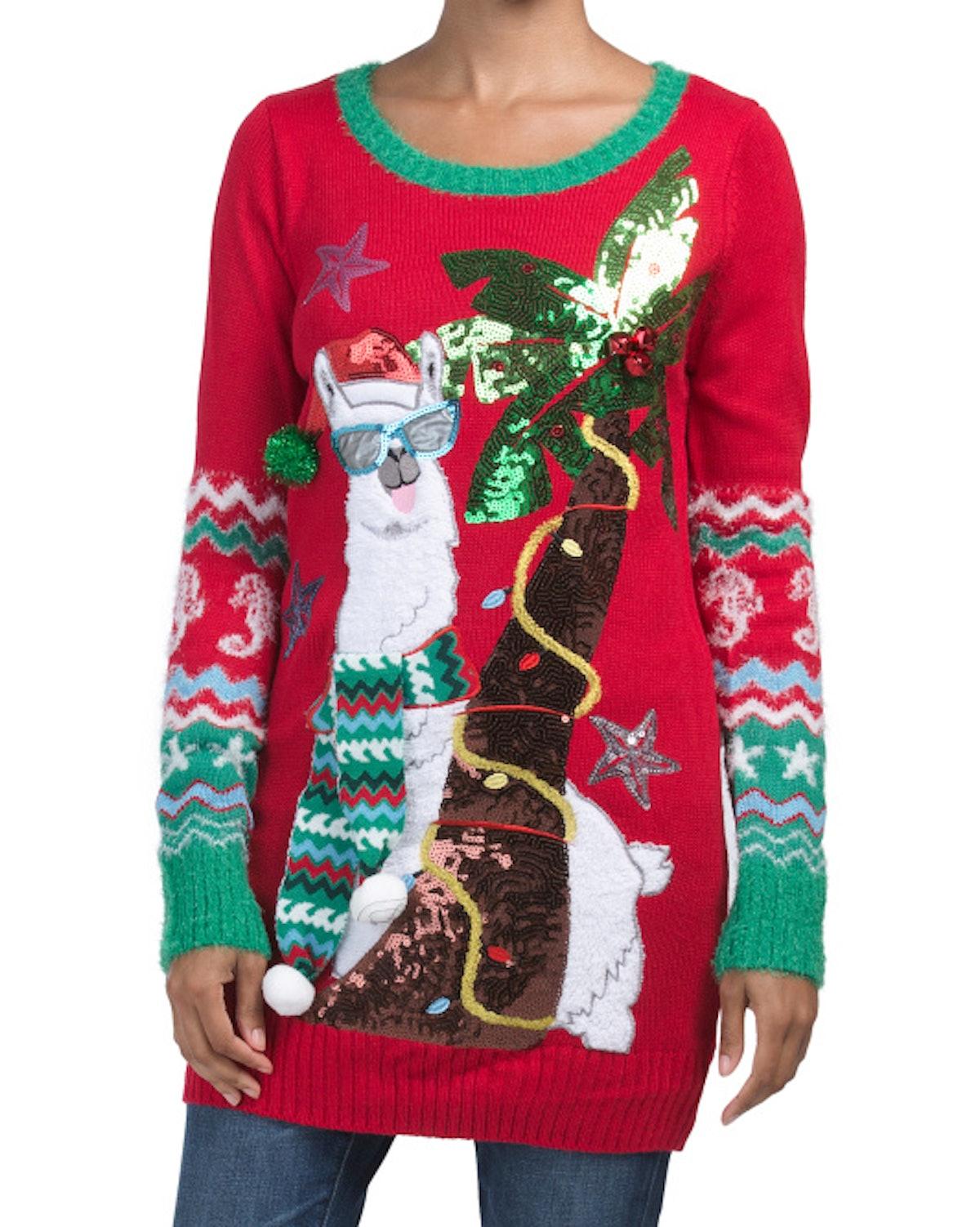 US Sweaters Llama Holiday Sweater Tunic