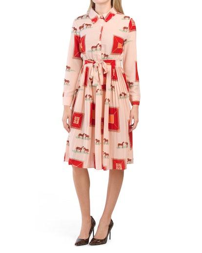 Dalia MacPhee Pleated Horse Print Shirt Dress