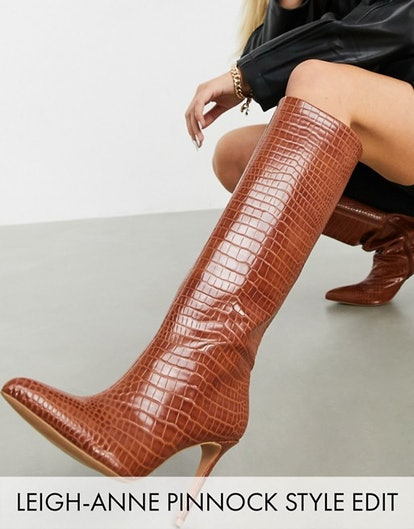 ASOS Design Claudia Knee High Boots in Tan