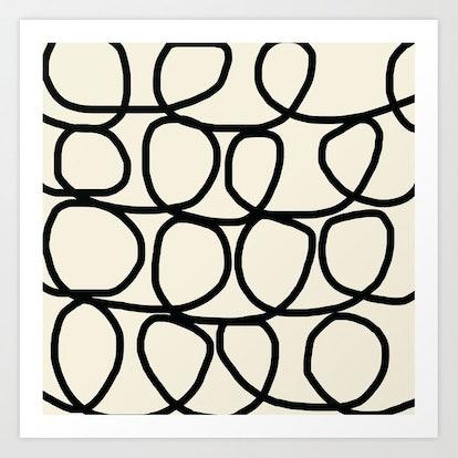 Loop Di Doo Cream & Black Art Print