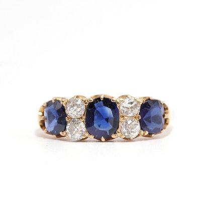 THREE SAPPHIRE AND DIAMOND RING
