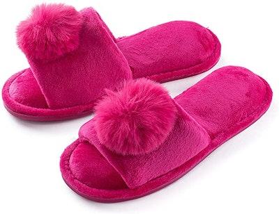 Pupeez Velvet Pom-Pom Slippers
