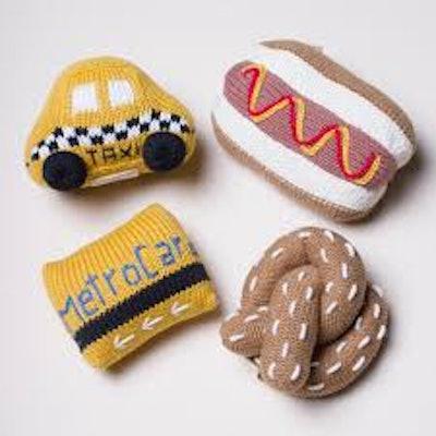 Organic Newborn Toy Rattles | Taxi, Metro Card, Hot Dog & Pretzel