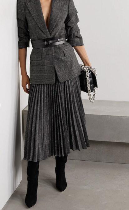 Pleated houndstooth wool-blend midi skirt