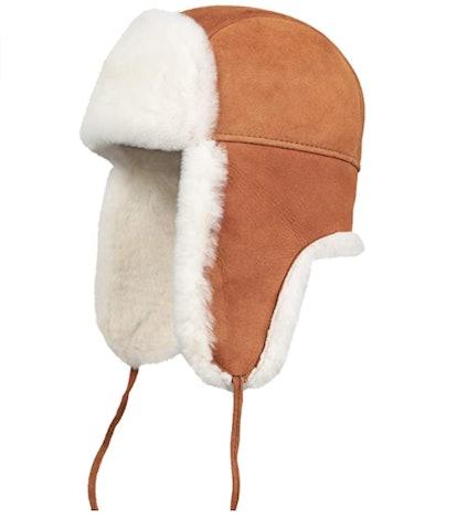 Zavelio Shearling Leather Trapper Hat