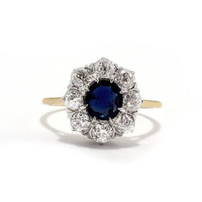 THE HARPER SAPPHIRE DIAMOND HALO RING