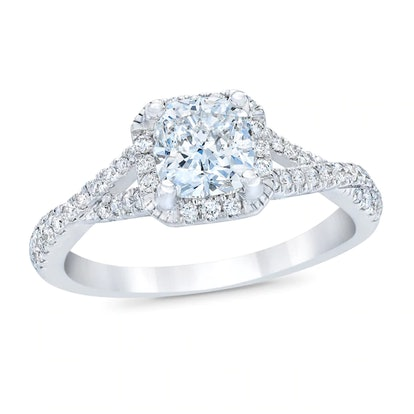 Royal Asscher Elizabeth Diamond Engagement Ring 1 ct tw Cushion-cut 14K White Gold