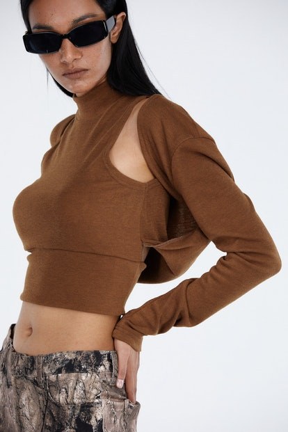 Turtleneck Top With Attached Cardigan