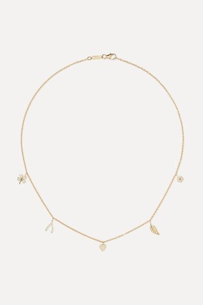 Mini Charm 18-Karat Gold Diamond Necklace