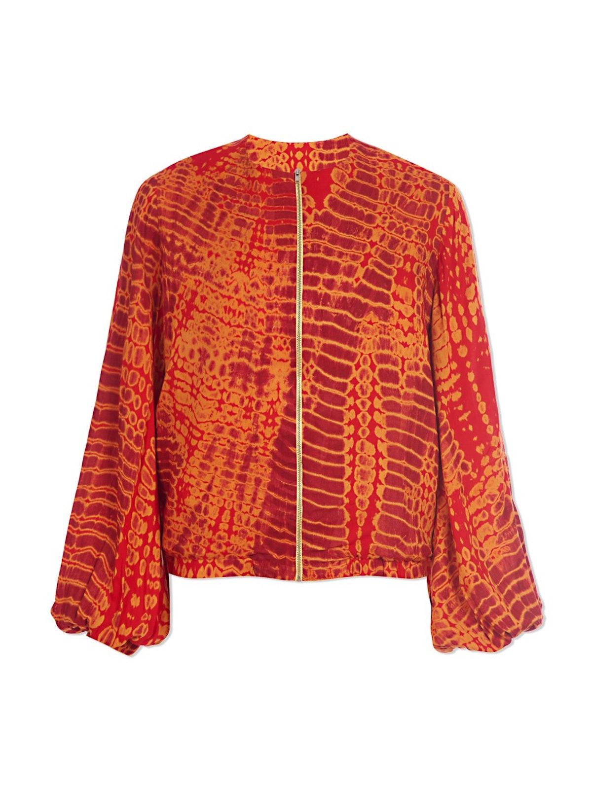 Red Tie-Dye Bomber Jacket