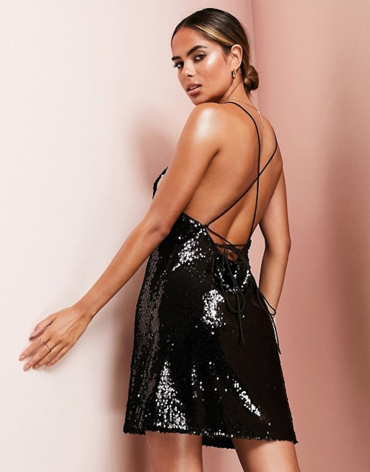 ASOS Luxe Cowl Neck All Over Sequin Mini Cami Dress