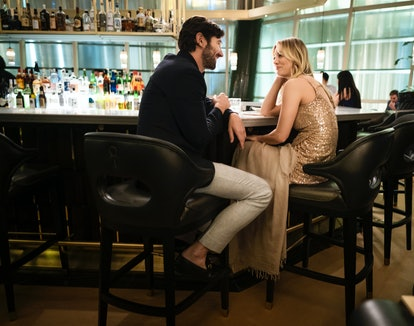 Michiel Huisman and Kaley Cuoco in The Flight Attendant via the HBO Max press site