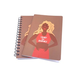"""journal with a woman that says """"Trust The Journey"""""""