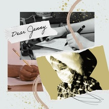 A collage including a black & white vintage  image of a woman's hand writing a letter and a contempo...