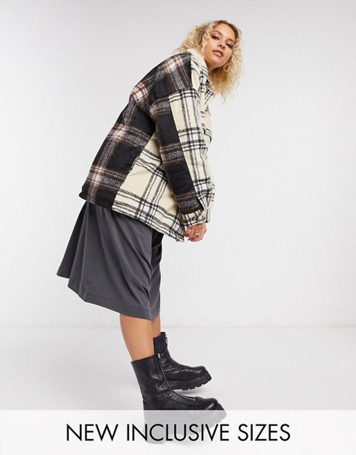 Collusion Unisex Padded Spliced Check Jacket