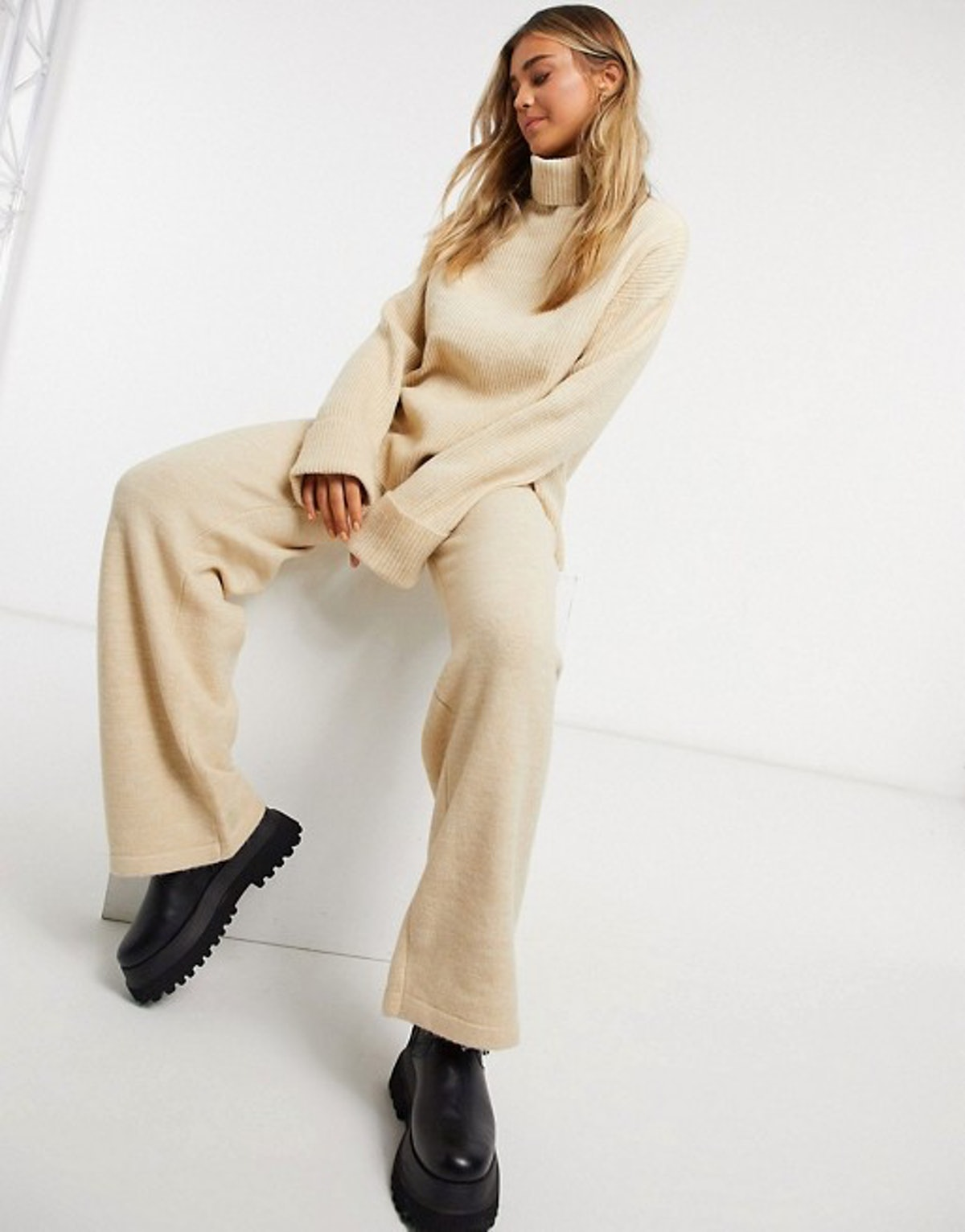 ASOS Design Roll Neck Sweater And Wide Leg Pants Co-ord in Camel