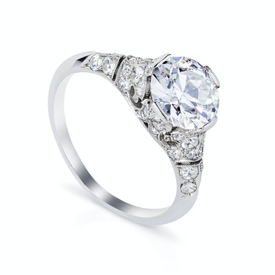 18 karat white gold So Regal ring with a 1.5ct old cut diamond center surrounded by 1ct diamonds