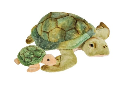 12 and 5 Inch Stuffed Sea Turtle Mom and Baby Plush