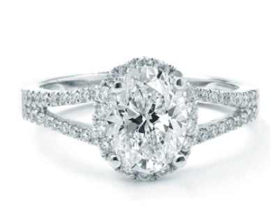 Oval Halo With A Split-Shank Diamond Engagement Setting In White Gold
