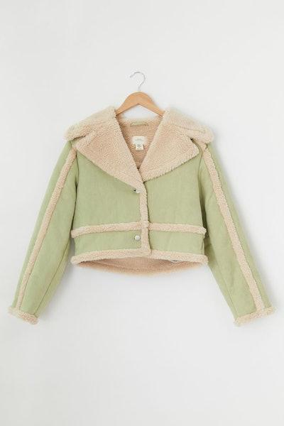 UO Chloe Faux Shearling Cropped Jacket