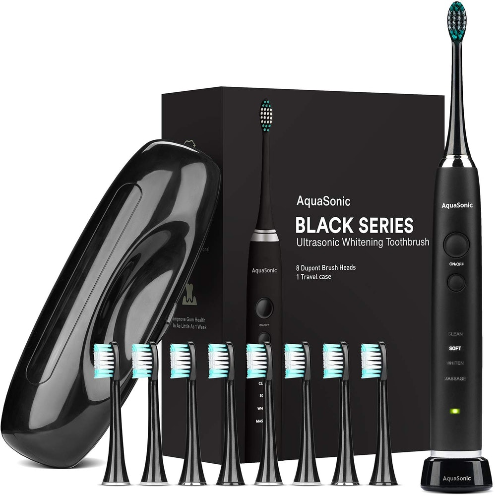 AquaSonic Black Series Ultra Whitening Toothbrush With 8 Brush Heads