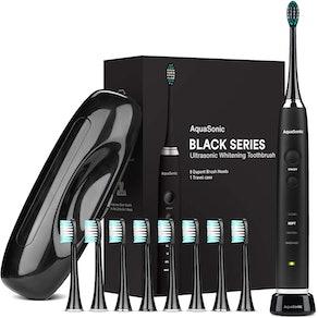 AquaSonic Black Series Ultra Whitening Toothbrush With 8 Brush Heads
