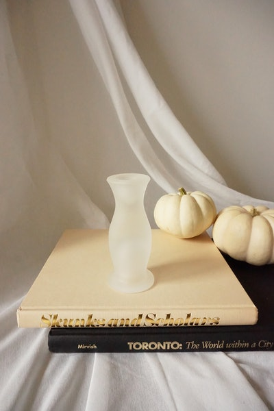 Tall frosted candle stick holder