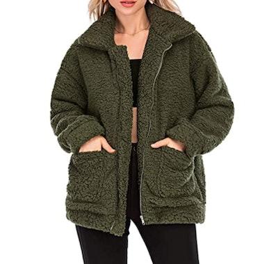 Comeon Faux Fur Shaggy Teddy Jacket
