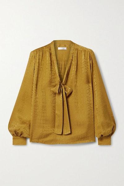 Delilah pussy-bow silk-satin jacquard blouse