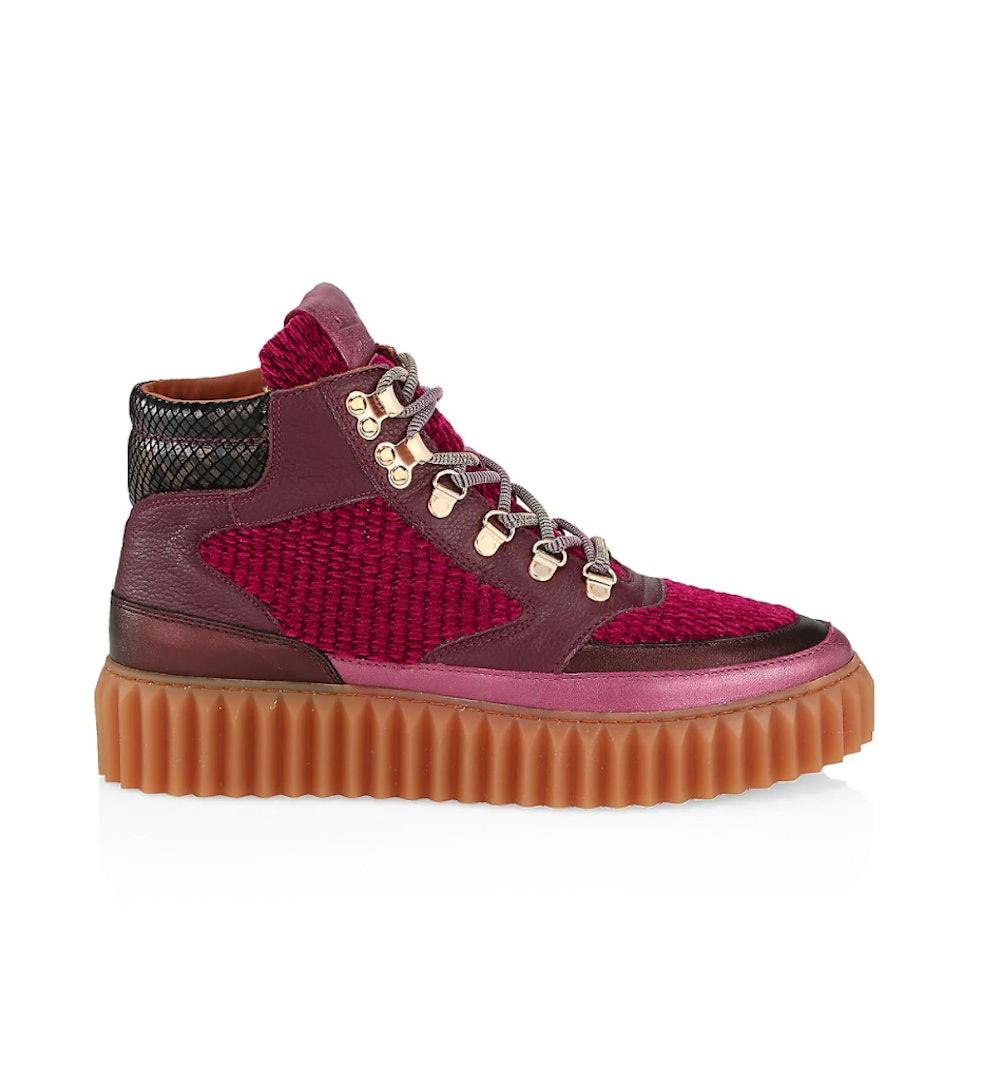 Eva Embossed Velvet & Leather Hiking Boots
