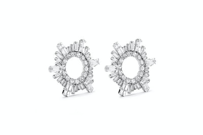 Silver Tone Begum Crystal Earrings