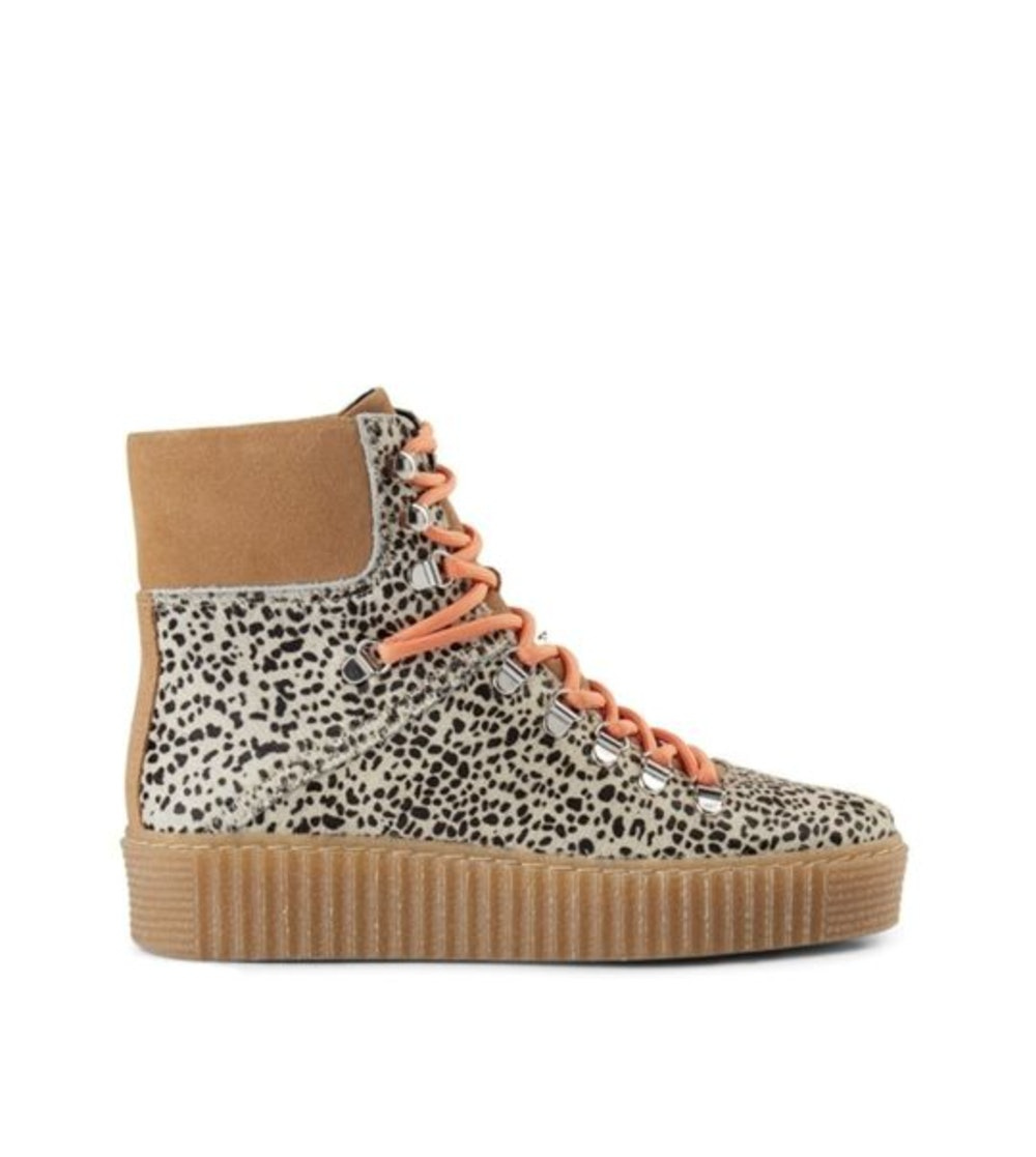 Agda Leopard Lace Up Boots