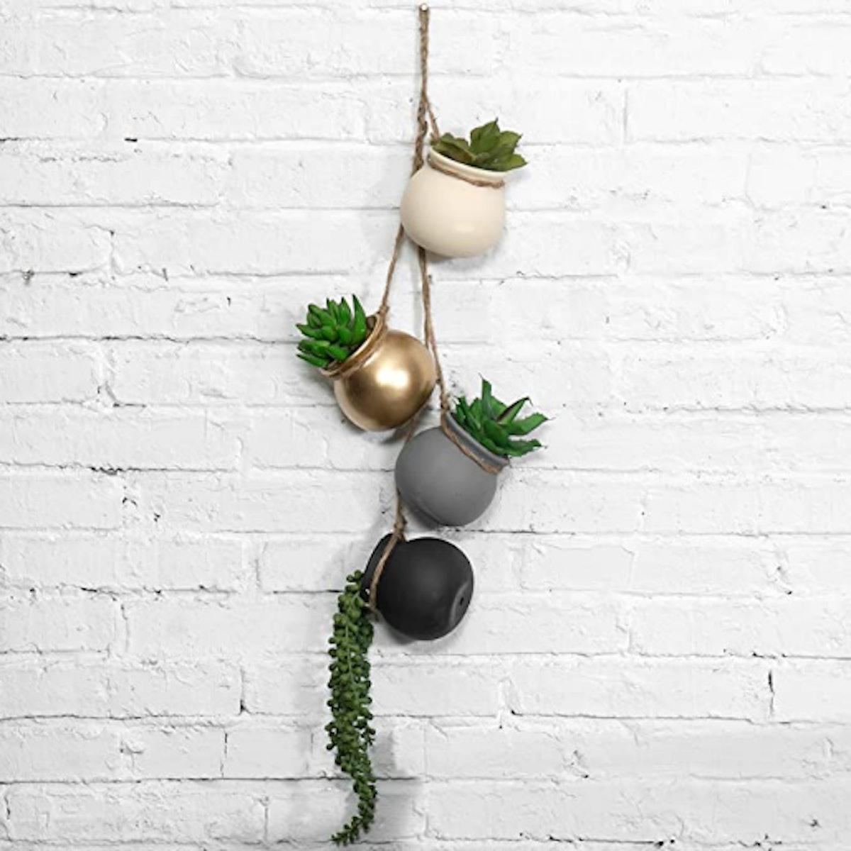 MyGift Hanging Ceramic Planter Set